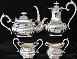 Finest Antique English Silver Plate Tea Coffee Service Teapot Coffee Cream Sugar