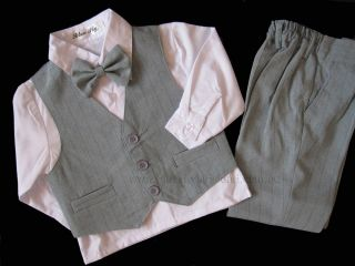 New Boys 4pcs Formal Suit Set Vest Shirt Tie Pants Size 000 – 16 Grey