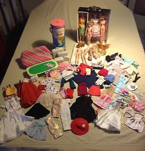 Large Vintage Barbie Midge Francie Lot Clothes Case Shoes Accessories