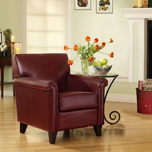 Set of 2 Elegant Classic Design Wine Red Leather Cigar Club Chairs