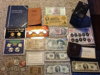 Junk Drawer Mint Coins 2 Dollar Bills Drummer Boy Camera Box