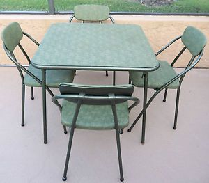 Vintage 1950s Cosco Hamilton Folding Card Table 4 Chairs Set Midcentury Modern