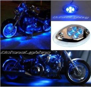 1pc Blue LED Chrome Accent Module Motorcycle Chopper Frame Neon Glow Light Pod