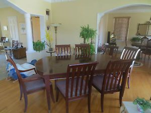 Contemporary Ethan Allen Solid Wood Dining Table Set w Leaves 8 Chairs