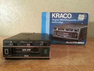 Vintage New Kraco KS 960C Super Mini Cassette Tape Deck Player Car Stereo Radio