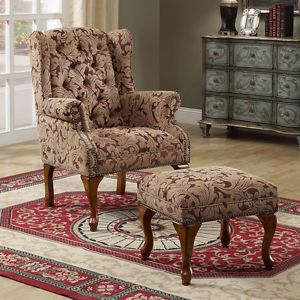Accent Seating Seat Tufted Wing Back Chair Ottoman Nailhead Trim Floral Pattern