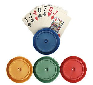 4 Round Acrylic Playing Card Holders for Poker Canasta Hand Foot Playing Cards