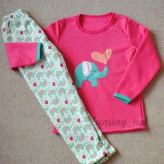 New Girls Baby Toddler Kid's Clothes 2piece Microfleece Thick Suit Elephant