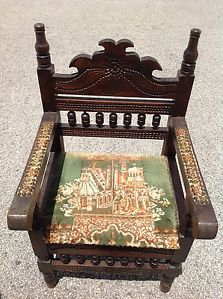 Antique Indian Hand Carved Wood Chair Piddi Mortise Tenon