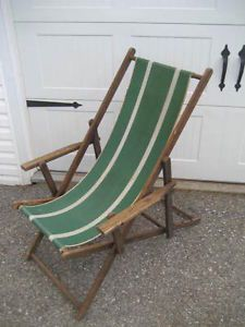 ... Vintage Folding Beach Chair Wood Frame With Canvas Adjustable ...