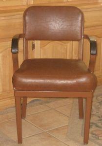 Vtg Brown Vinyl Royal Metal Mfg Office Desk Chair Nice