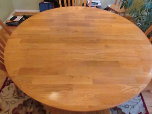 "48"" Round Oak Dining Room Table 4 Chairs with 1 Leaf Expands 48"" x 66"""