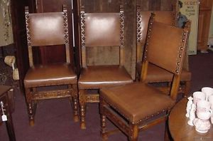 Four Mexican Spanish Dining Chairs Oak And Leather 1 Inch Nail Head Design