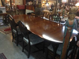 6 Ethan Allen Vintage Mahogany Shield Back Dining Room Chairs and Table
