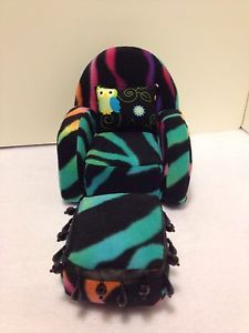 Colorful Zebra Print Chair with Ottoman for Monster High Barbie or Bratz Dolls