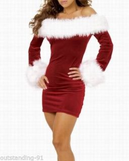 Sexy Ladies Fancy Red Xmas Dress Santa Womens Christmas Costume Outfit 288