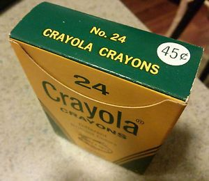 Vintage Crayola Crayons 24 Colors Box Unused No UPC Code Made in USA