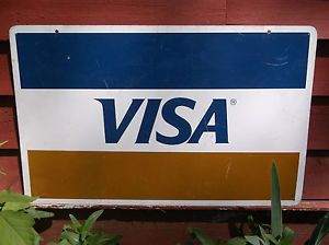 Vintage Metal Visa Credit Card Sign