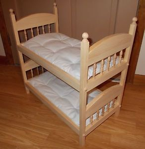 "New Stackable Bunk Doll Bed with Mattresses Made for All 18"" Dolls"