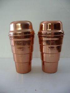 VINTAGE2 Copper Color Aluminum Measuring 2 Cup Smoothie Mix Drink Shaker w Lid