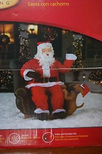 New Gemmy Inflatable Santa with Puppy 5 Foot Animated Realistic Sitting Chair