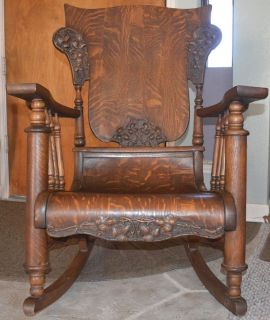 ... Antique Wooden Rocking Chair Detailed Carvings ...