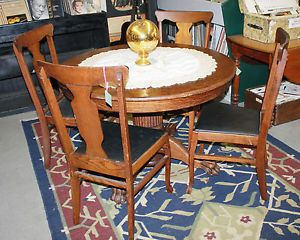 Antique Round Oak Claw Foot Table with 4 Chairs
