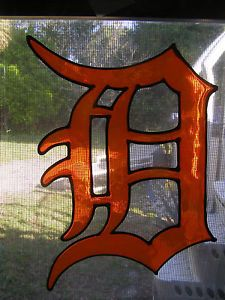 "Detroit Tigers Stained Glass Window Cling 10x7"" or Old English Letter D SURNAME"