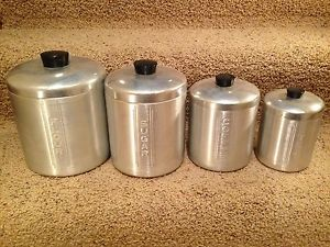 Vintage 8 Piece Aluminum Canister Set Flour Sugar Coffee Tea Kitchy Retro Modern