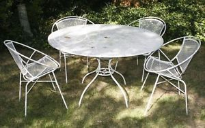 vintage salterini wrought iron patio set 4 chairs table original 1960 tag antique rod iron patio