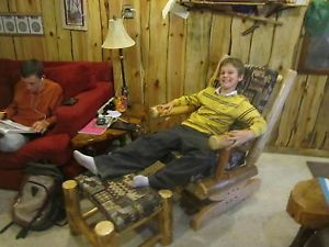 Pine Log Rustic Rocker Footstool Rocking Chair