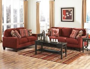 Ashley Darby Spice Red Sofa Loveseat Couch Chair Living Room Set 5100035 38