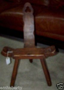 Birthing Chair Spinning Wheel Chair Hand Carved Antique Wood Chair