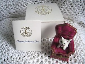 Chamart Limoges Limoges Box White Cat on Pink Chair