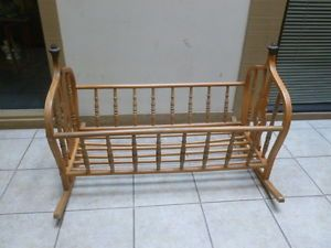 Antique Wooden Baby Bed Rocking Cradle from The 1940'S