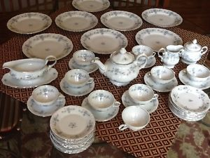 Lot Winterling Bavaria Germany Blue Flowers China Floral Dinnerware w Teapot