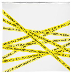 Police Line Yellow Black Crime Scene Tape Eva Vinyl Shower Curtain