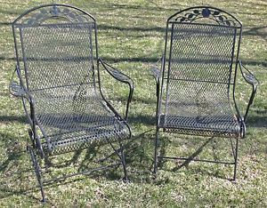 2 Wrought Iron High Back Spring Chairs Floral Design Black Very Comfortable