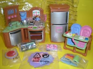 Fisher Price Loving Family Dollhouse Twin Time Kitchen Stove High Chair Food New