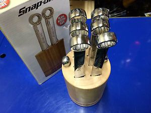 Snap on Kitchen Steak Knife Set 6 Stainless Knives in Wood Block New Wrench