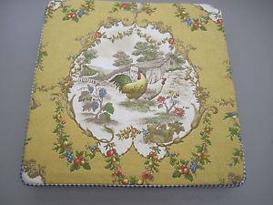 Custom Chair Pad Yellow Gold French Country Rooster Toile Blue Checks Kaufmann