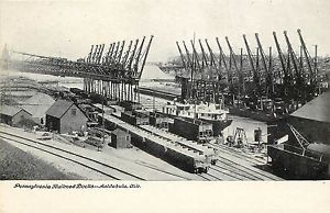 Early Vintage PC Pennsylvania Railroad Docks Ashtabula Oh Unidvided Back