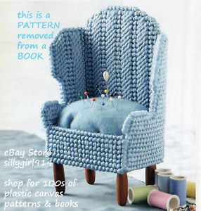 """Wing Back Chair Pincushion"" Plastic Canvas Pattern"