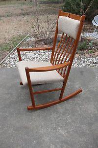 Vintage Tarm Stole Teak Rocking Chair Hans Wegner Mid Century Danish Modern