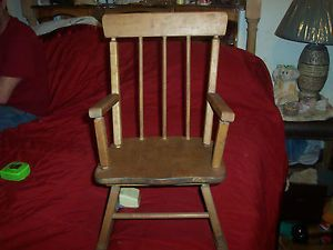 Wooden Antique Childs Rocking Chair Attached Music Box