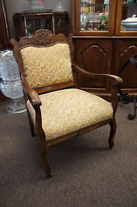 Unique Antique Serpentine Carved Arm Chair Upholstered Wooden Castors Aesthetic