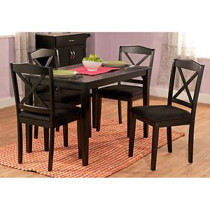 5 Piece Dinette Set Wood Dining Room Table Chairs Kitchen Furniture Black