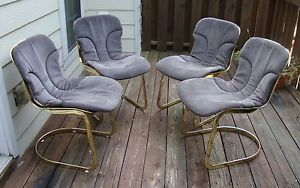 Vintage Italian Cidue Gray Blue Suede Leather Floating Dining Chairs 1970s