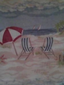 Beach Scene Cloth Shower Curtain Sand Beach Chairs Ocean Beautiful
