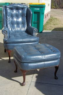 Vintage Genuine Leather Button Tufted Wing Chair w Matching Ottoman by Classic